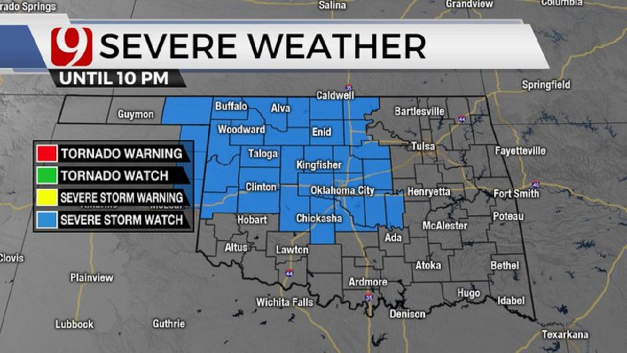 Severe Thunderstorm Watch Issued For Western, Central Okla.