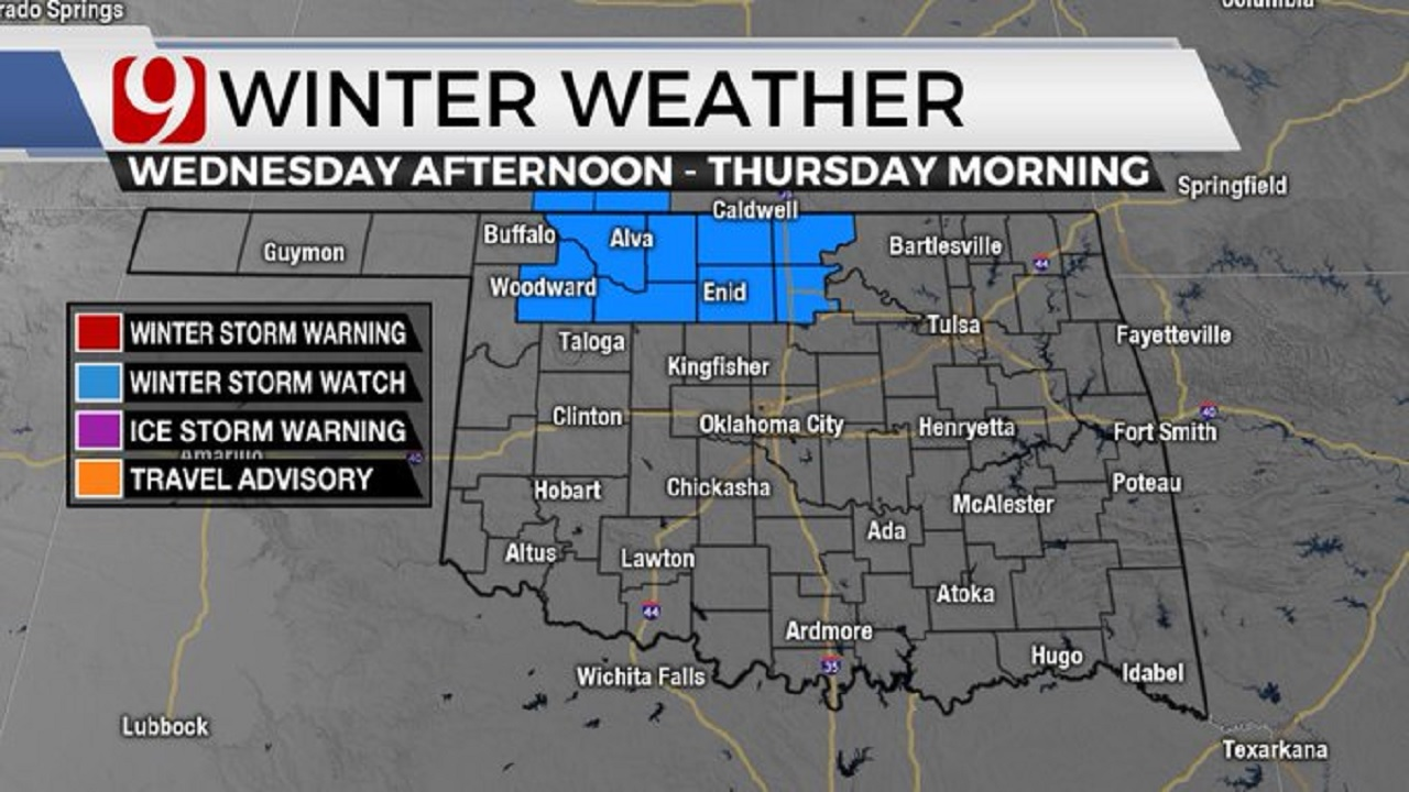 Winter Storm Watch Issued For Parts of Oklahoma