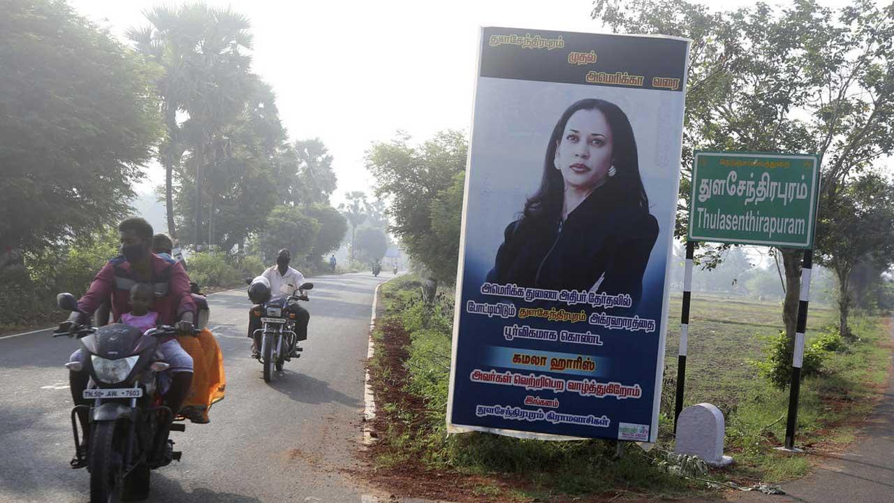 Kamala Harris sign in India