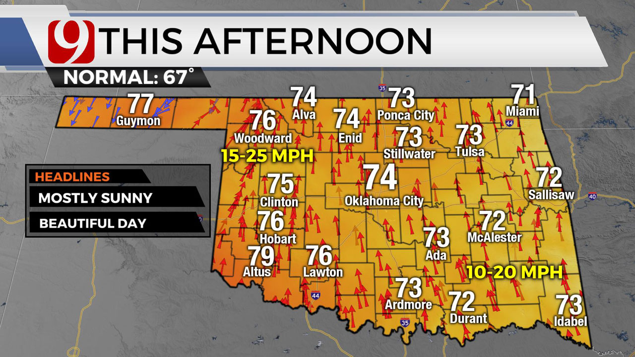 Okla. Sees Highs In 60s, 70 Wednesday