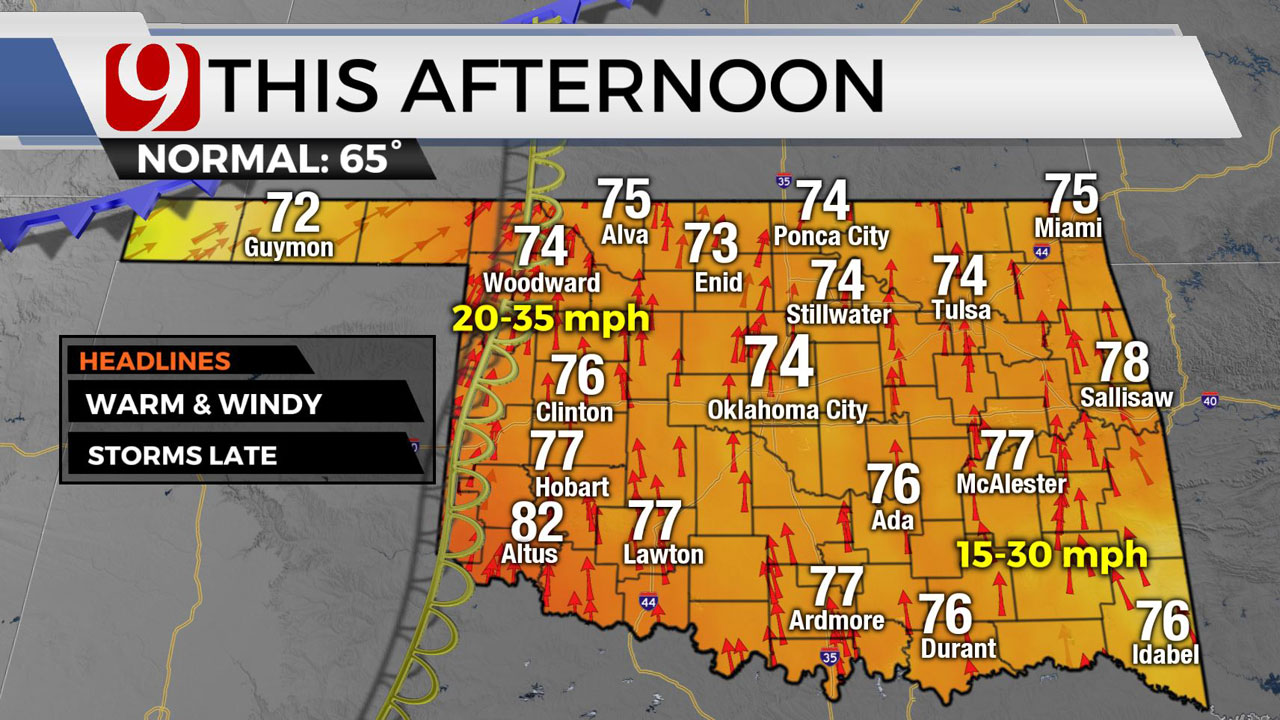 Okla. Sees Warm, Wind Monday Ahead Of Cold Front