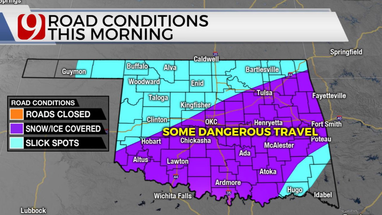Okla. To See Freezing Drizzle, Light Snow Wednesday Morning Creating Hazardous Road Conditions