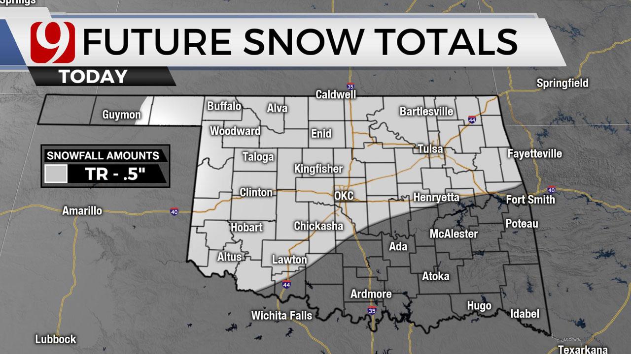 Okla. To See Light Snow, Highs In 20s Thursday
