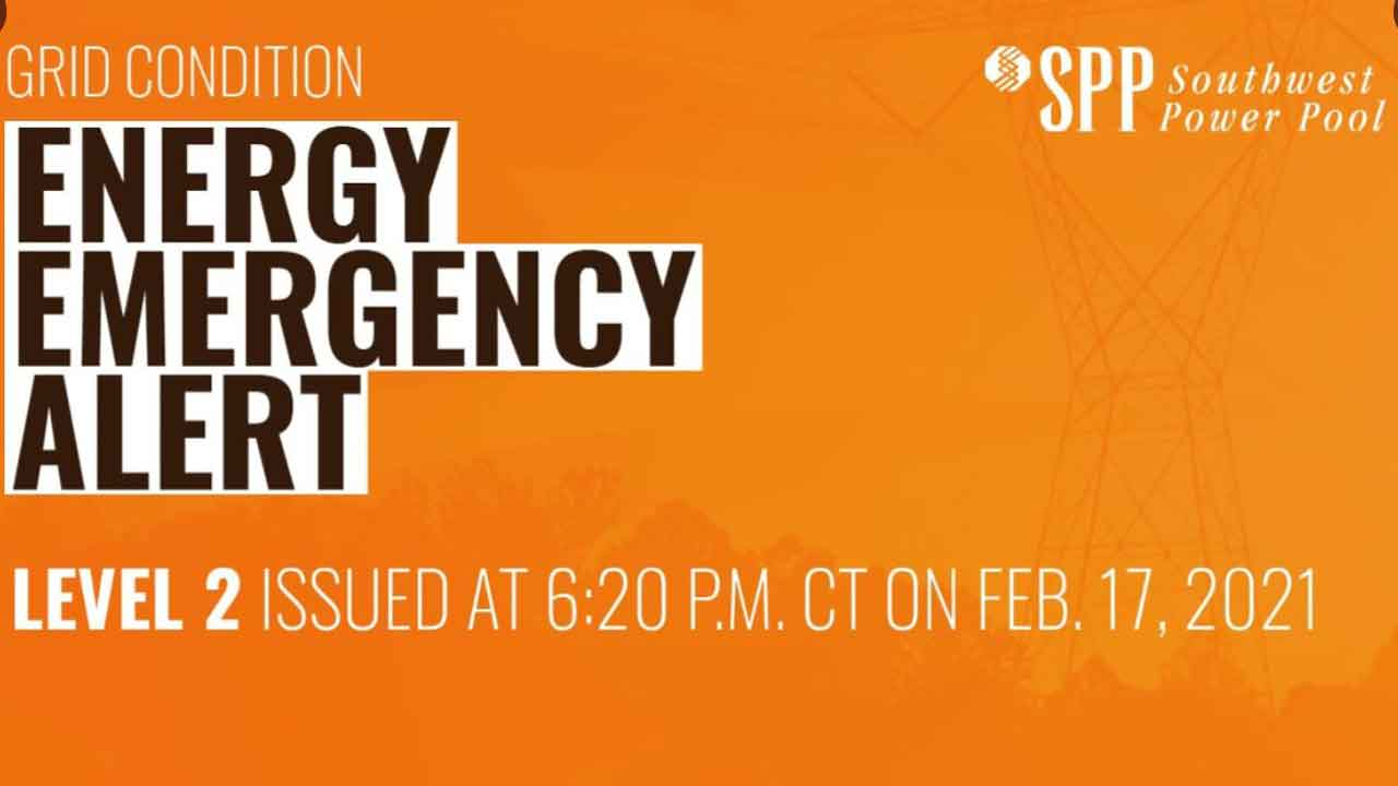 SPP Increases Energy Emergency Alert To Level 2 As Of 6:30 P.M. Wednesday