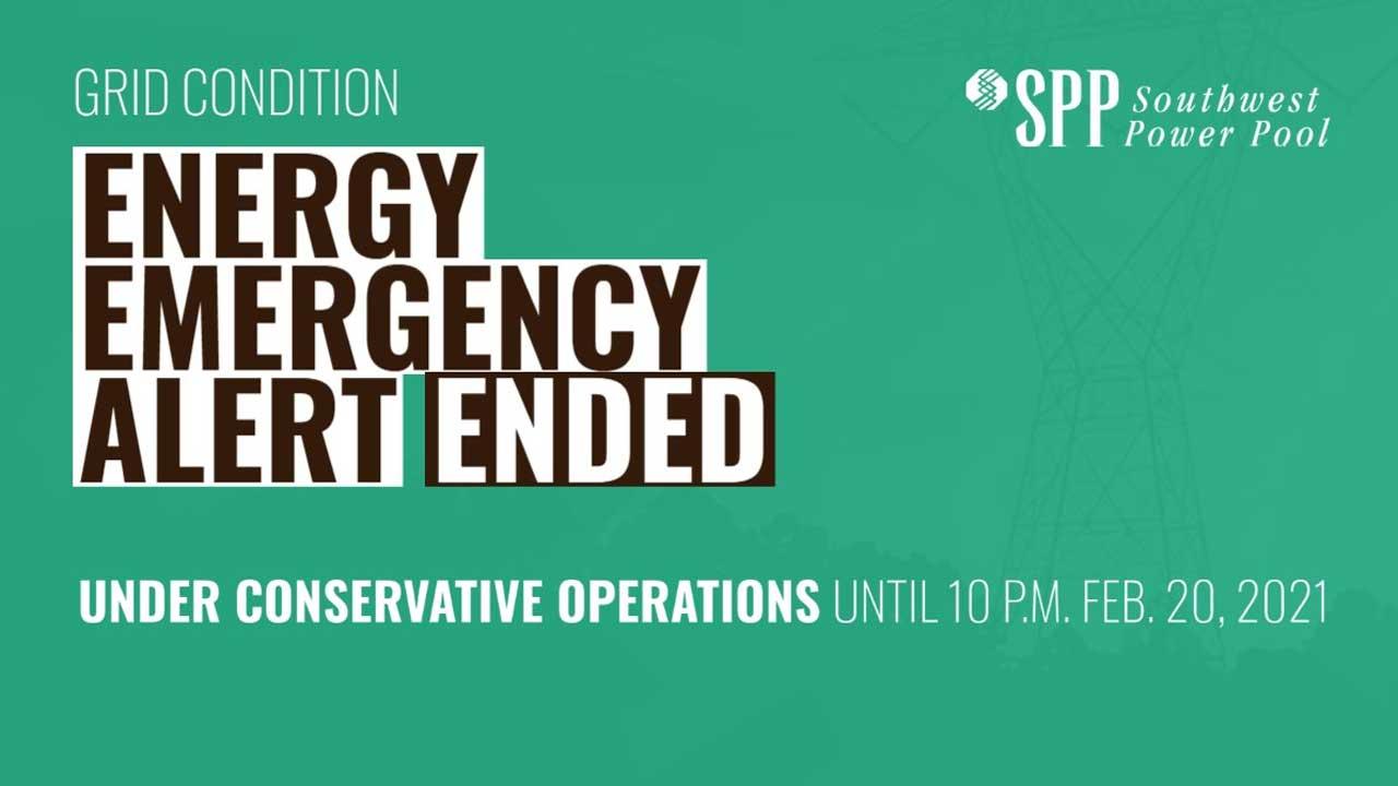 Southwest Power Pool No Longer Under An Energy Emergency Alert