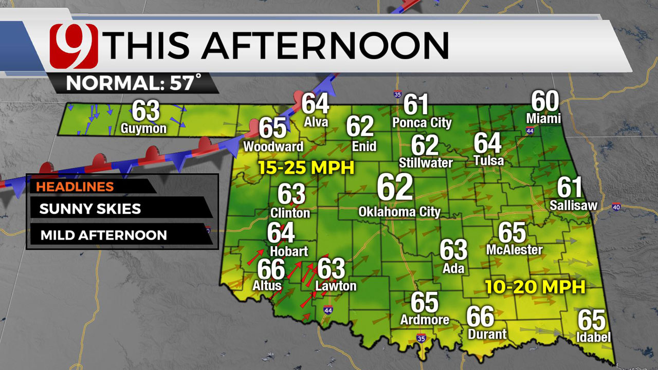 Okla. To See Clear, Sunny Skies, Highs In 60s Monday