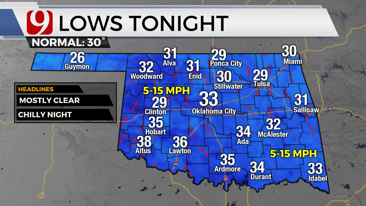 Cold Front Moves Through Okla. Thursday Bring Wind Gusts Up To 50 MPH