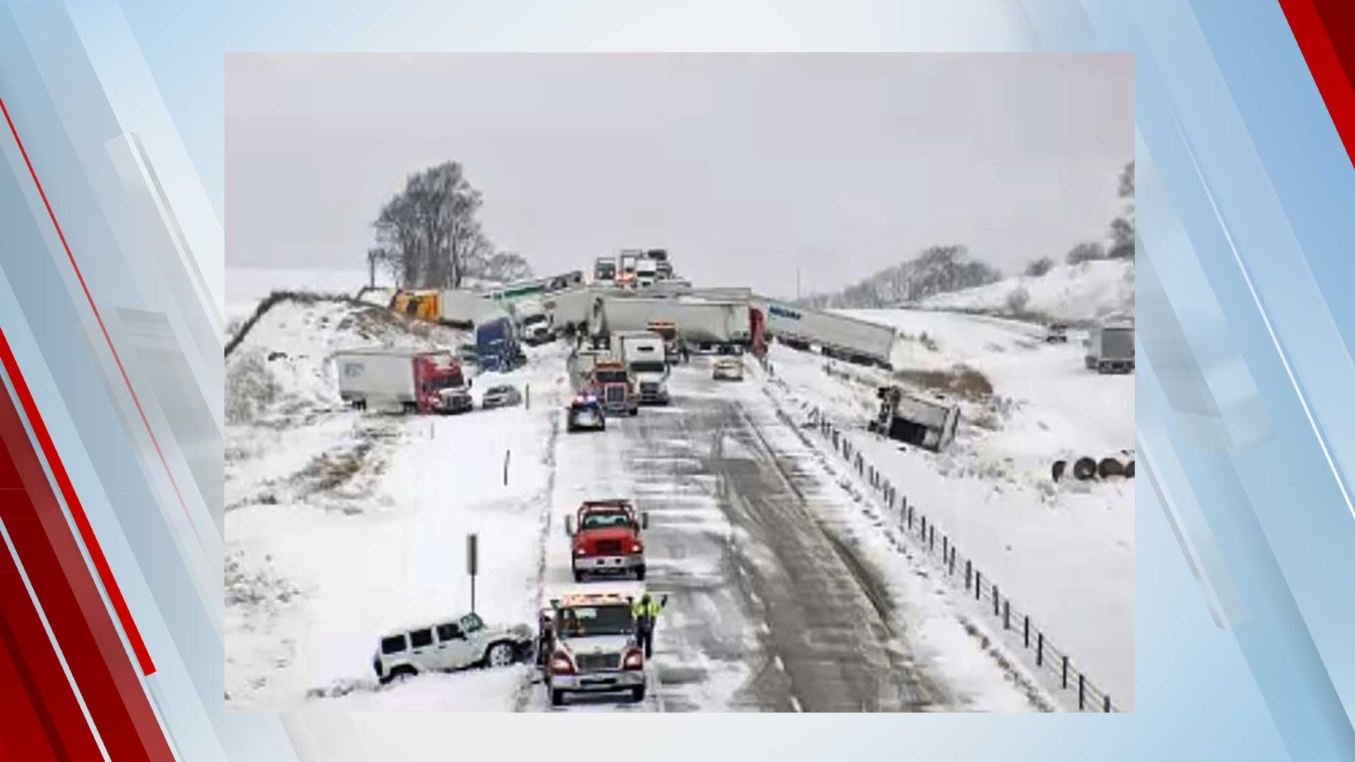 Serious Injuries Reported After Massive 40-Vehicle Pileup On Snowy Section Of I-80 In Iowa