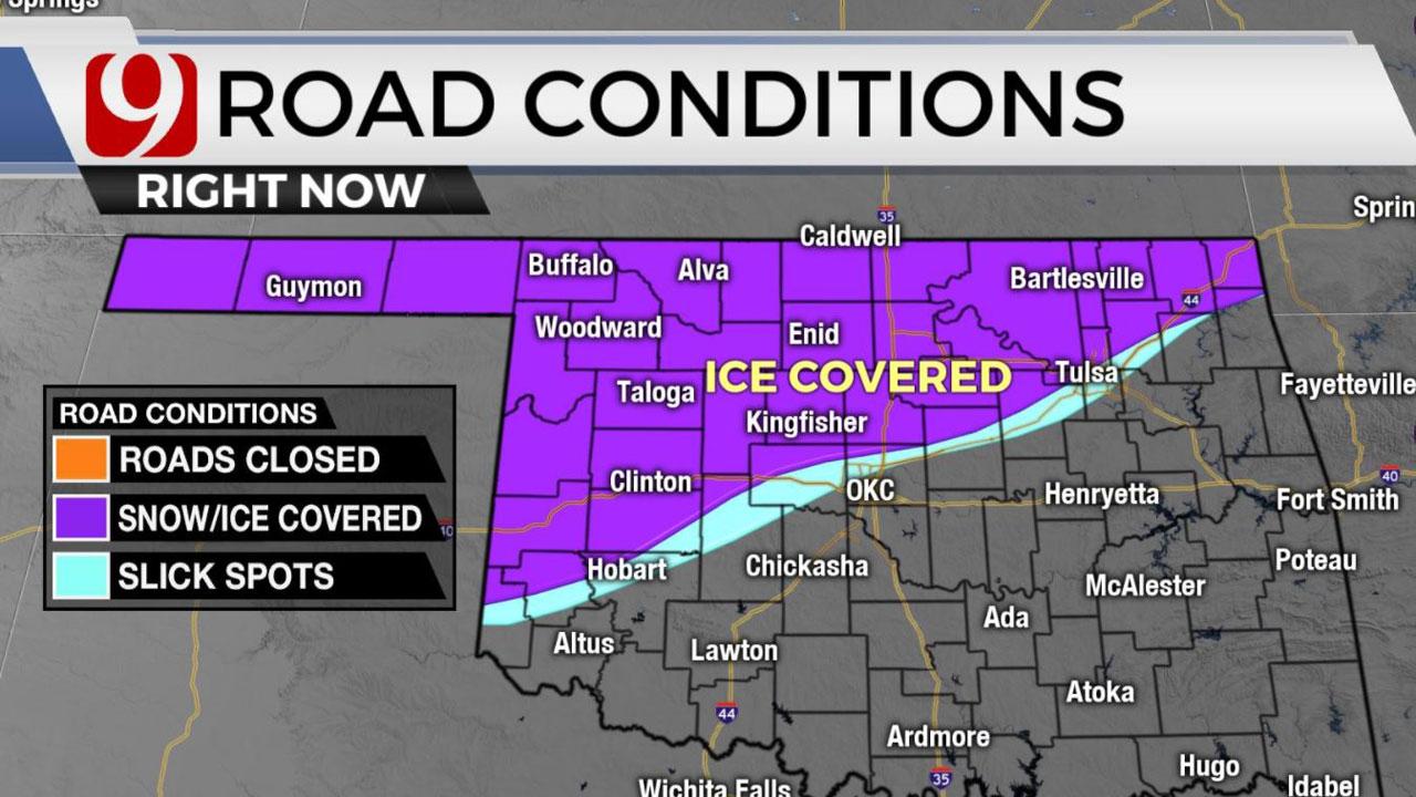 Freezing Drizzle, Temperatures In Teens Leads To Slick Hazardous Road Conditions Across Okla.