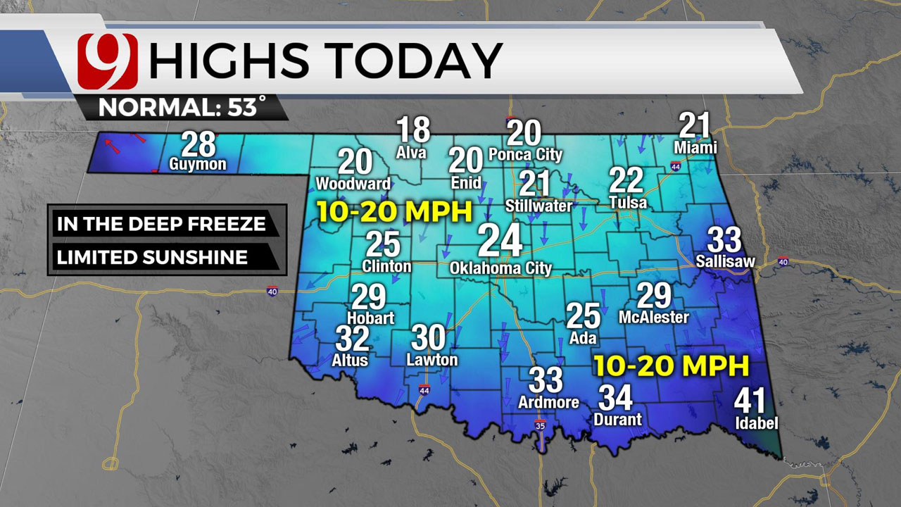 Okla. To See Cold Temps, Patchy  Freezing Rain Tuesday As Frigid Week Continues
