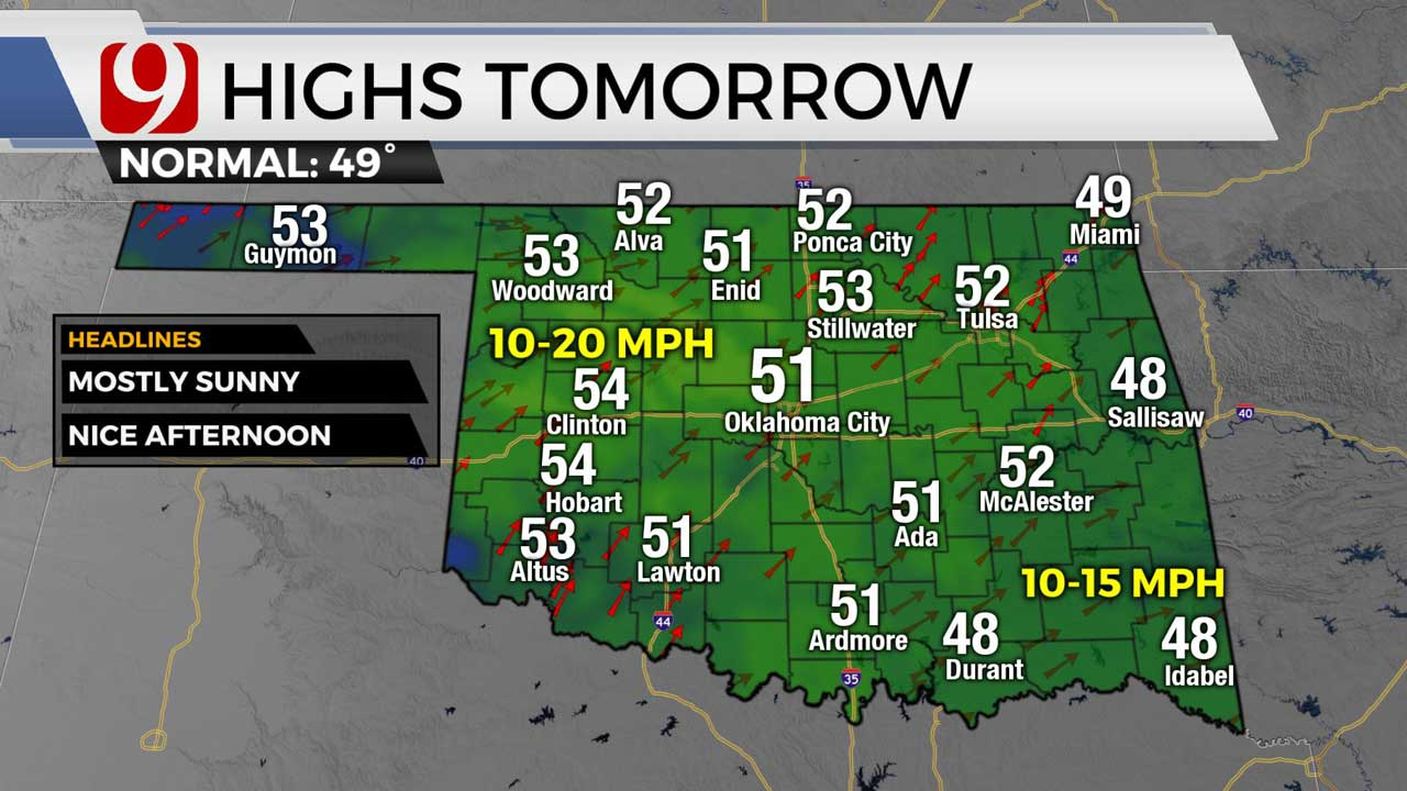 Highs for tomorrow 1/12/21