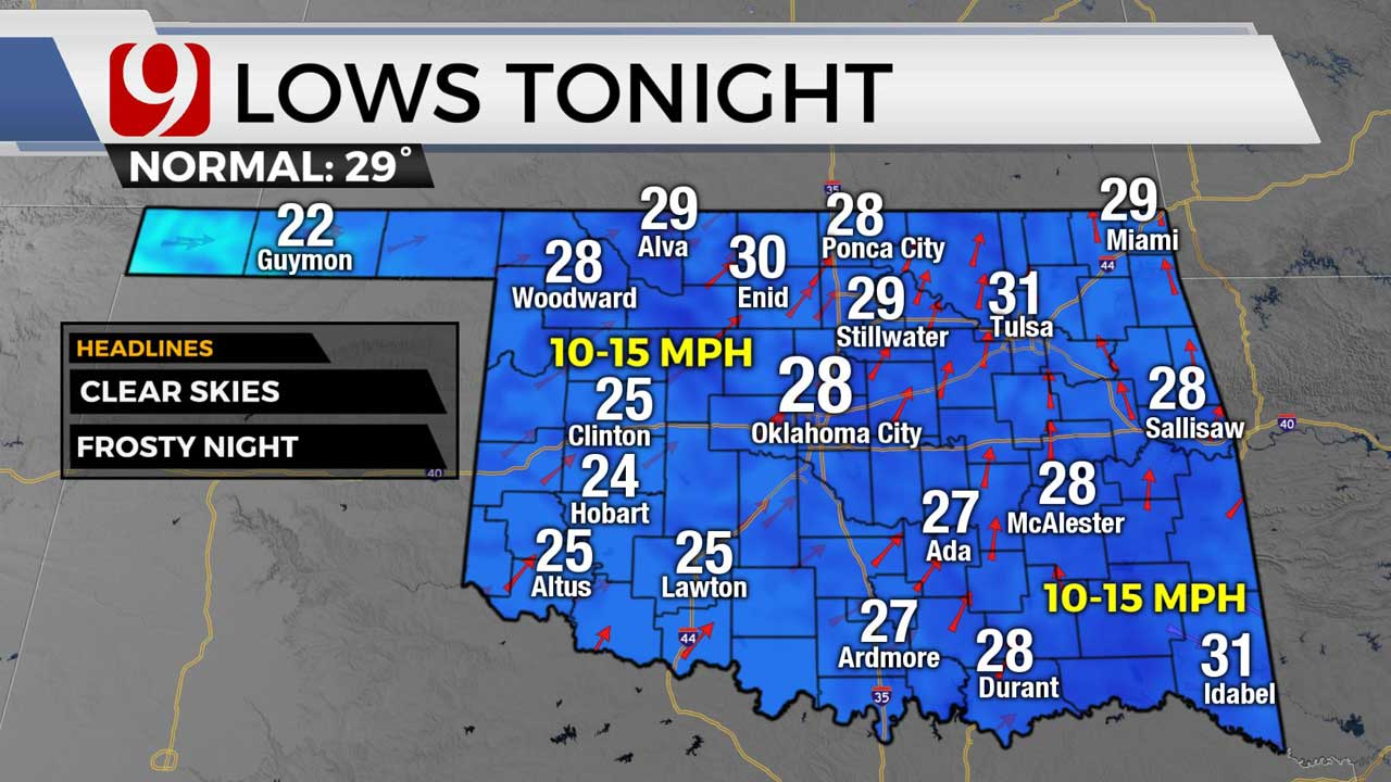 Lows for Monday night 1/11/21