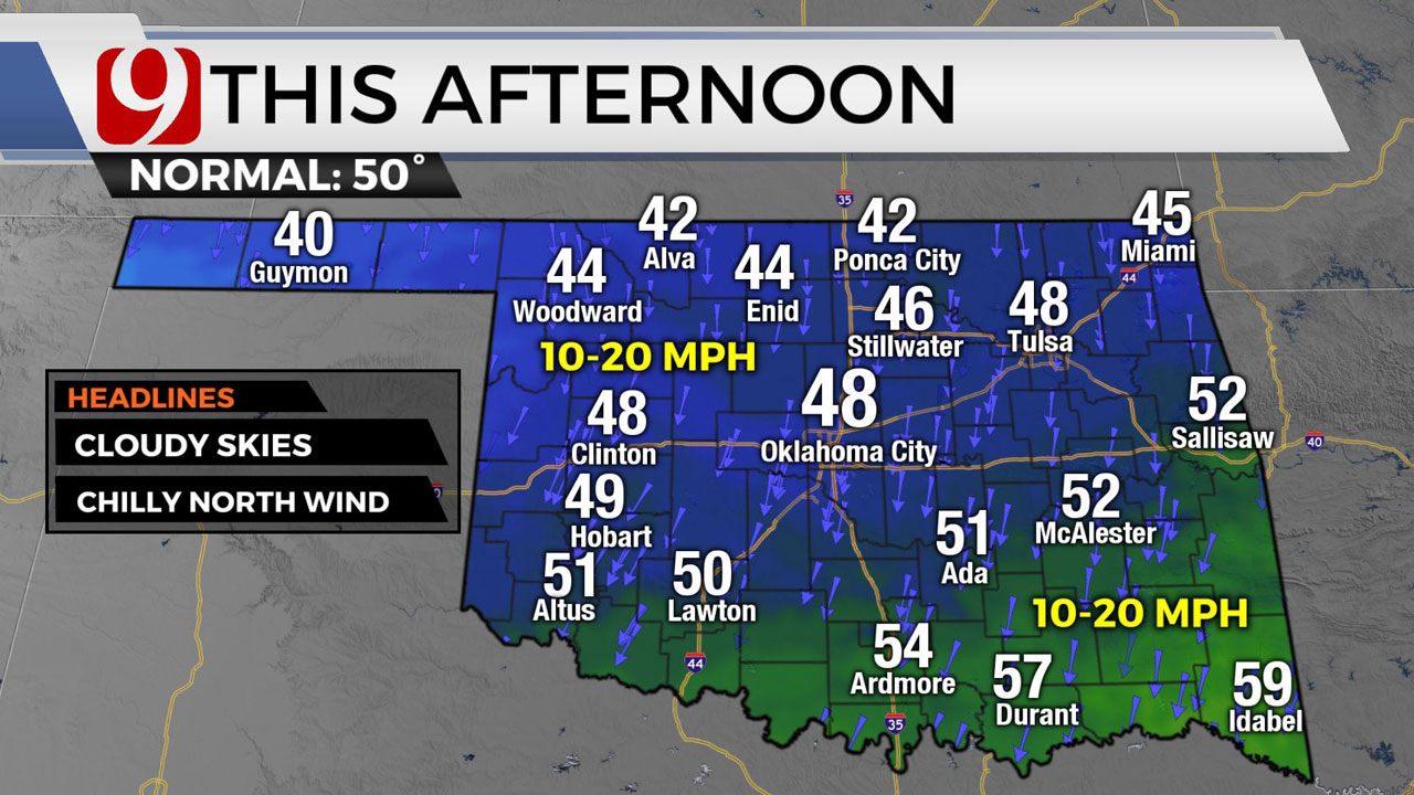 Okla. Sees Cool Temperatures, Cloudy Skies Tuesday