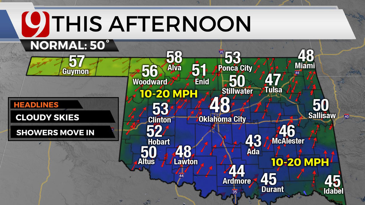 Okla. To See Showers, Cloudy Skies & Highs In 40s
