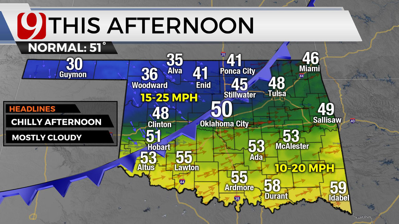 Okla. In For Chilly Day As Rain Moves Out