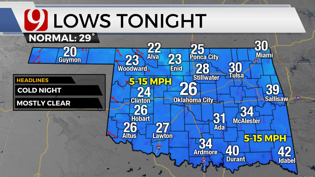 Okla. To See Cold Wednesday With Wind Chills In The 20s