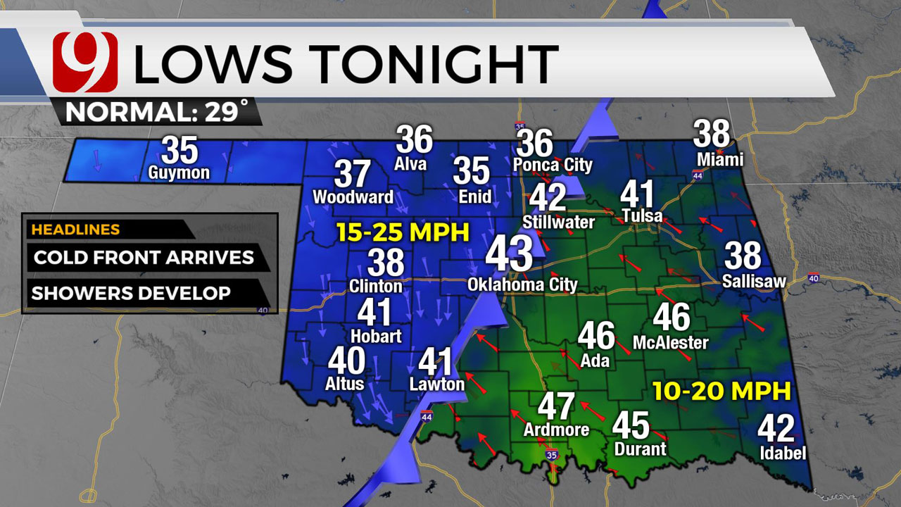 Okla. Sees Sunny Skies Ahead Of Evening Cold Front
