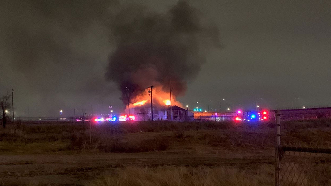 Firefighters Battle Large Fire At Abandoned Warehouse In Downtown OKC