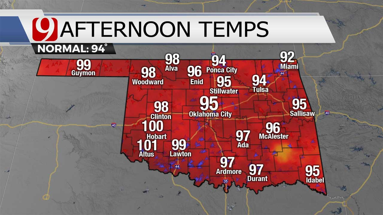 Dangerous Heat Continues In Oklahoma With Highs In 90s, 100s