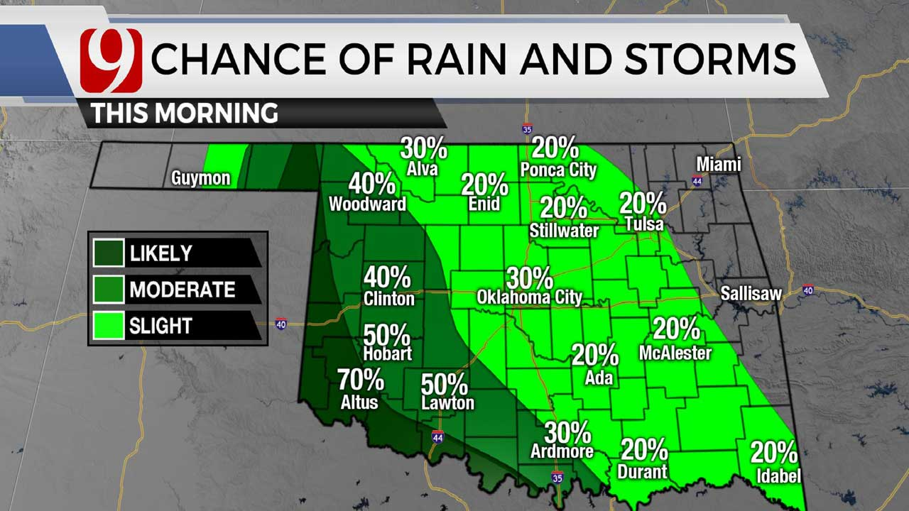 Overall Rain Chances To Stay Low For Most Of Oklahoma On Wednesday