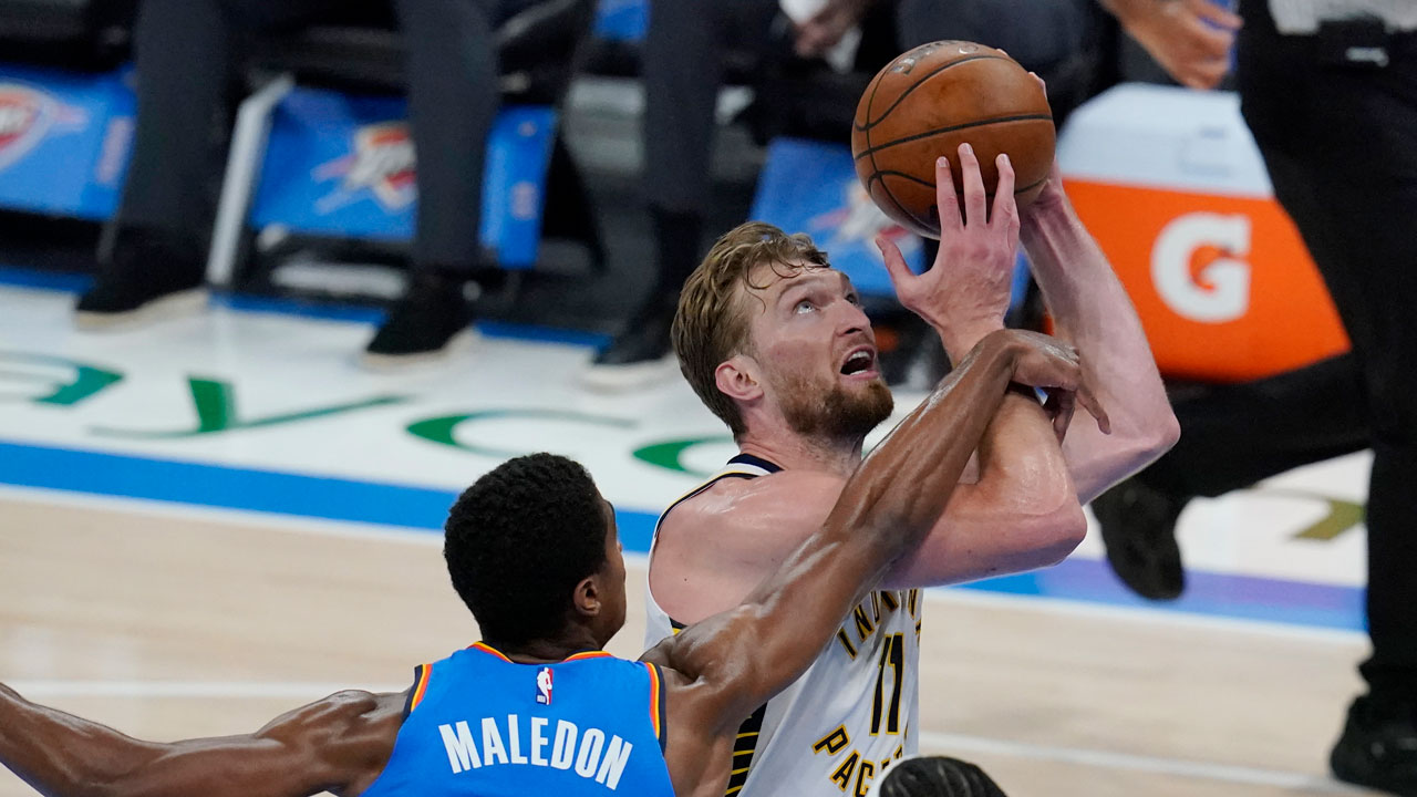 Pacers Top Thunder 152-95; Sabonis Has Triple-Double By Half