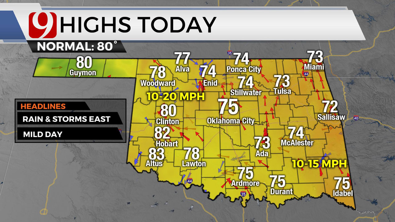 OKC Metro Experiencing Muggy Conditions, Greater Rain Chances In Eastern Okla.