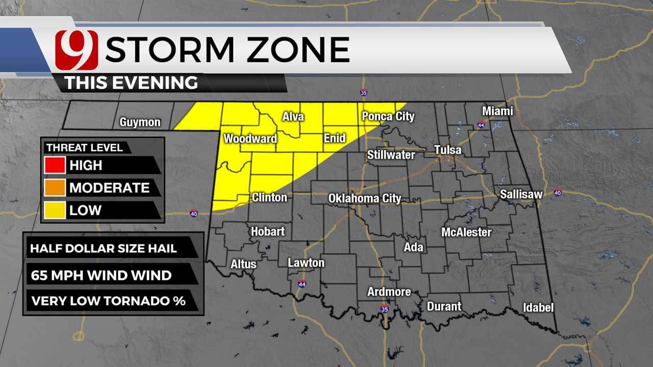 Severe Weather Possible Tuesday Evening, Night In Northwest & Western Oklahoma